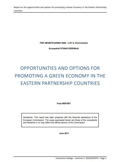 Report on the opportunities and options for promoting a Green Economy in the Eastern Partnership countries